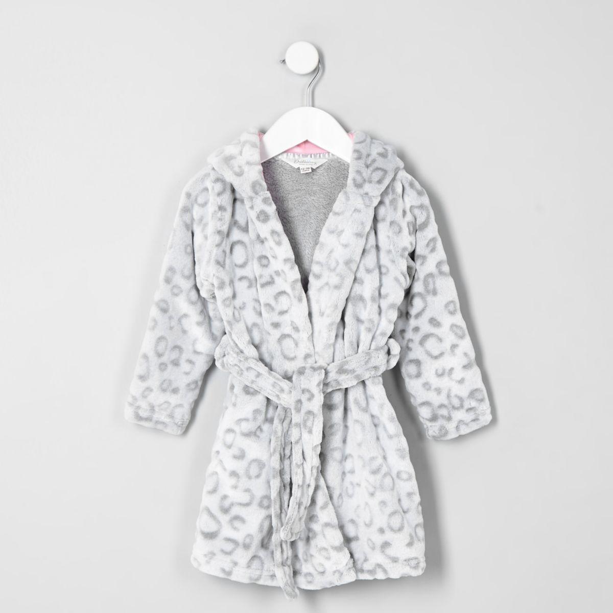 Mini girls grey leopard print dressing gown - Baby Girls Pyjamas ...