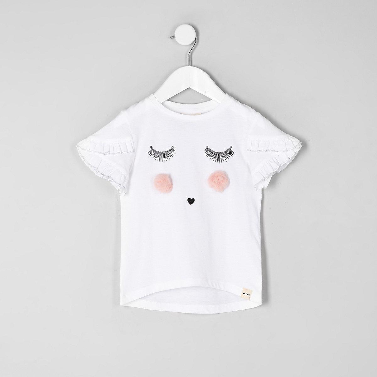 Weißes T-Shirt mit Wimpernspitze