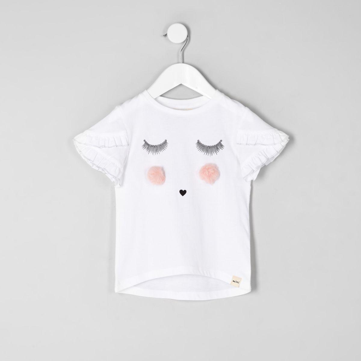 Mini girls white eyelash T-shirt