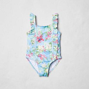 Maillot de bain motif tropical à volants sur les côtés mini fille