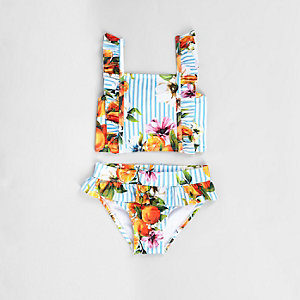 Mini girls blue stripe frill fruit tankini