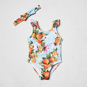 Mini - Gestreept zwempak met bloemenprint voor meisjes