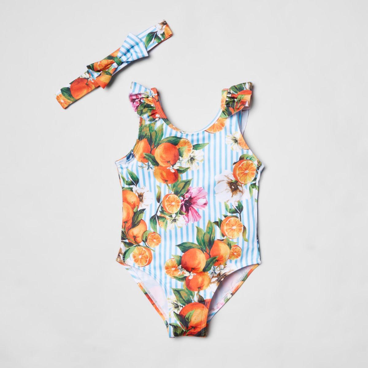 Mini girls floral stripe swimsuit