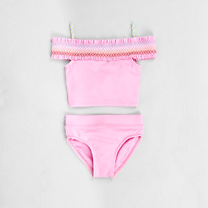 Mini girls pink shirred bardot tankini