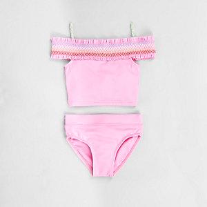 Mini - Roze gesmokte bardottankini voor meisjes