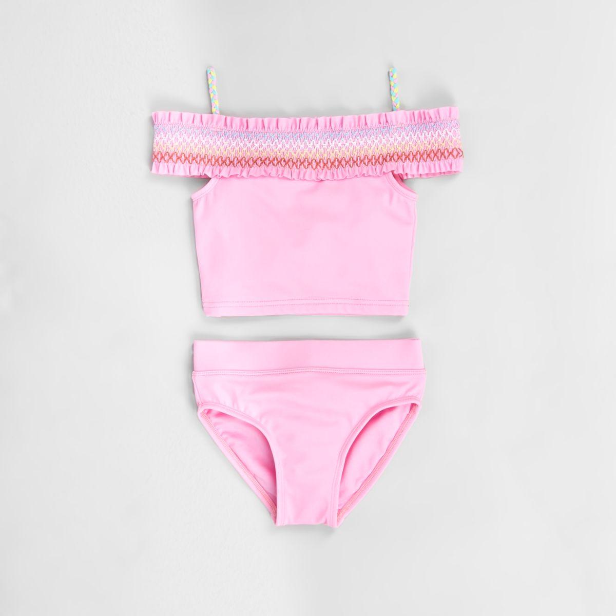 Mini girls pink shirred bardot tankini