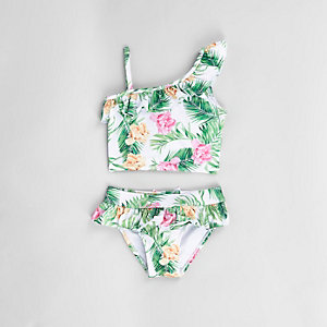 Tankini tropical blanc à volants mini fille
