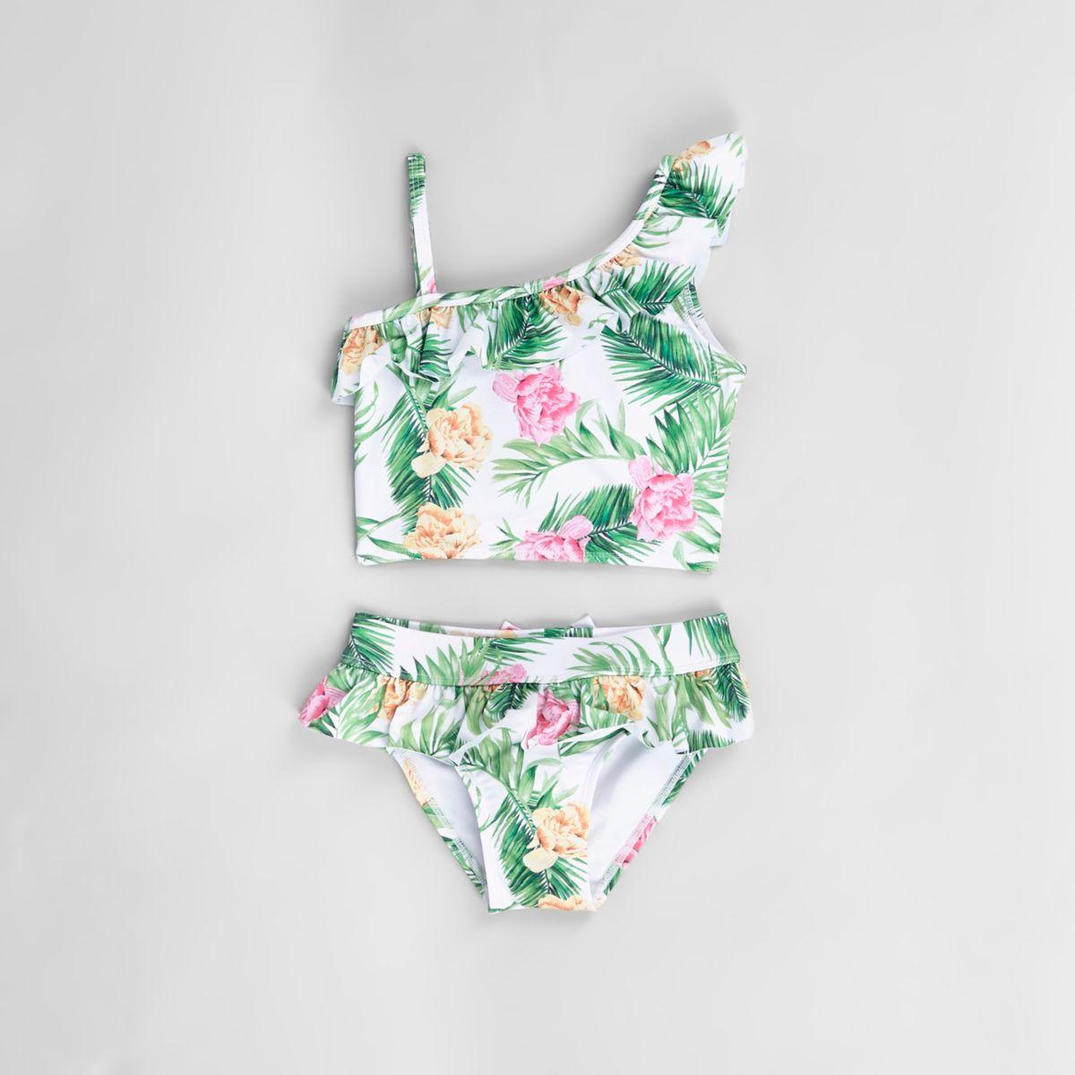 Mini girls white tropical frill tankini