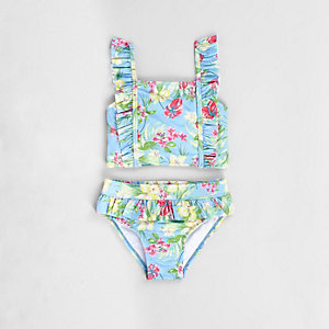 Mini girls blue tropical frill tankini