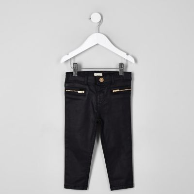 Mini Girls Black Coated Jeans by River Island