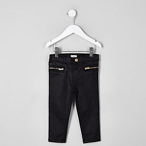 Mini girls black coated jeans