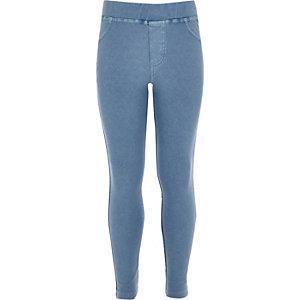 Girls blue denim leggings