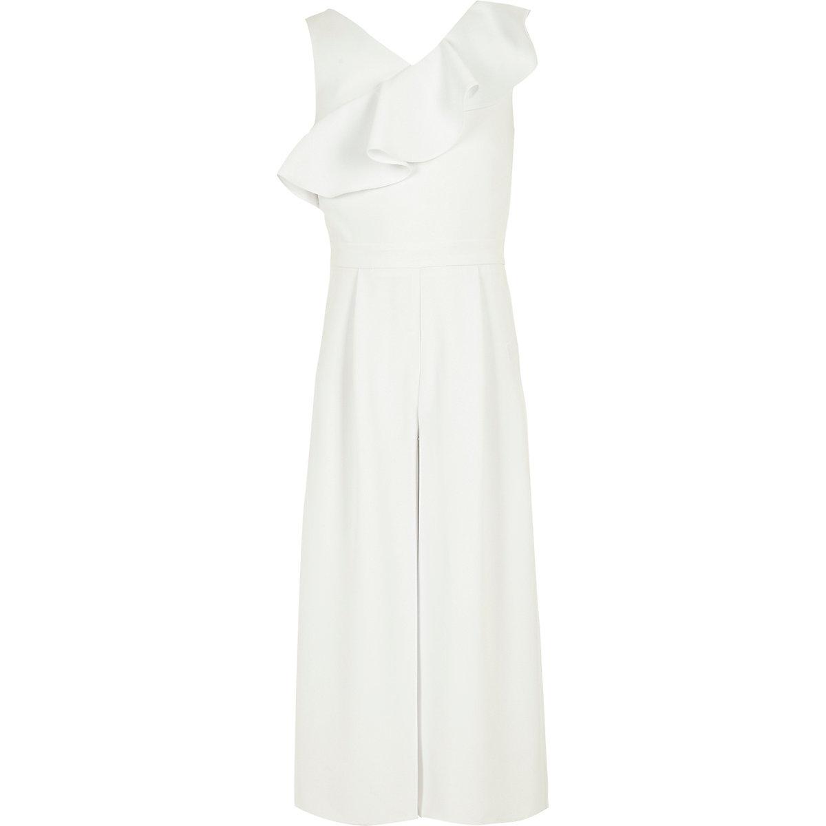 Girls white frill culotte jumpsuit