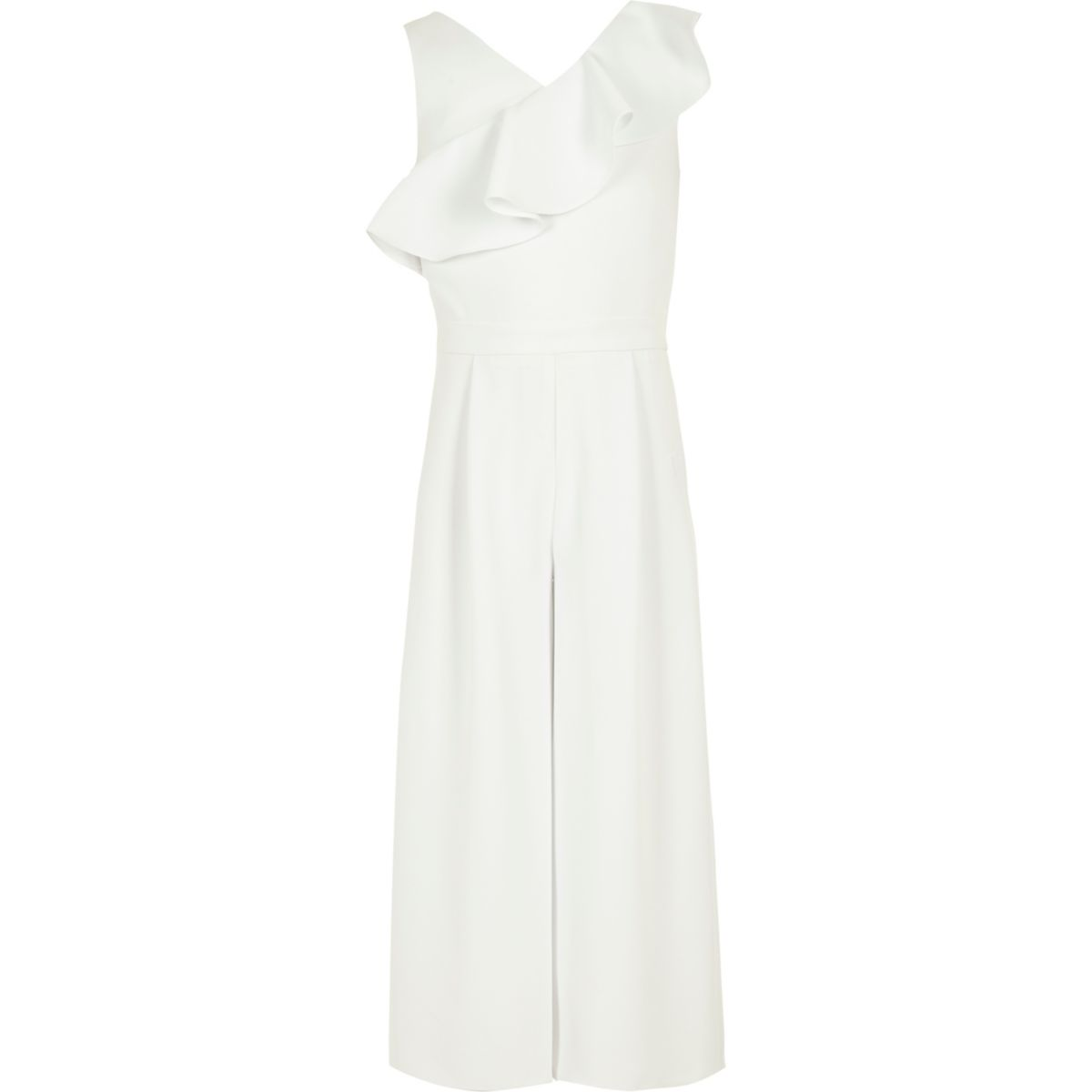Girls white frill culotte jumpsuit