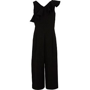 Girls black frill culotte jumpsuit