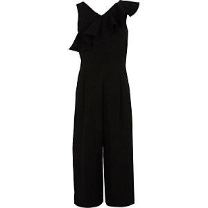 Zwarte jumpsuit met broekrok en ruches voor meisjes