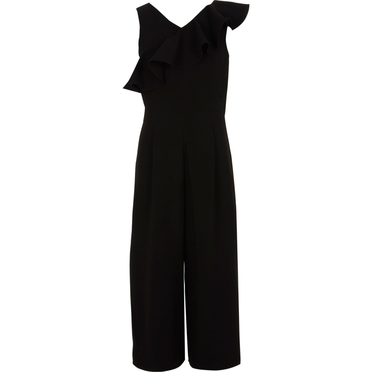 Girls black frill culotte jumpsuit