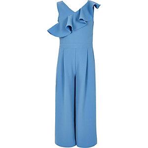 Blauwe jumpsuit met broekrok en ruches voor meisjes