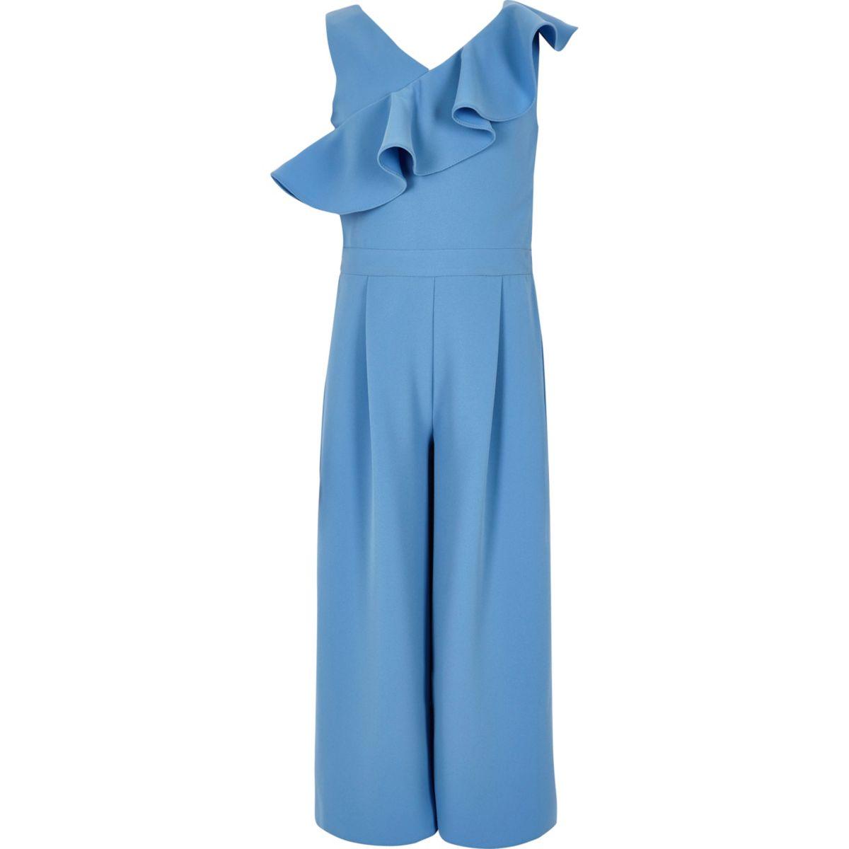 Girls blue frill culotte jumpsuit