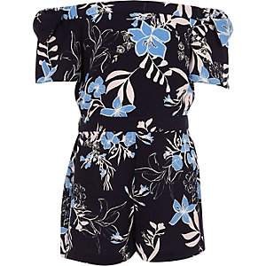 Girls blue bardot floral bow romper