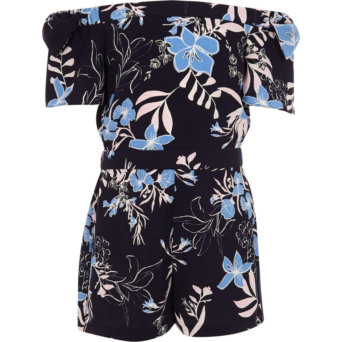 Girls blue bardot floral bow romper