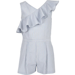 Girls blue stripe asymmetric frill playsuit