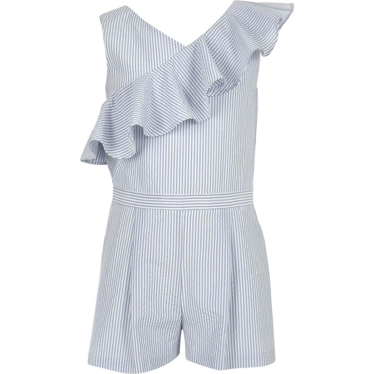 Girls blue stripe asymmetric frill romper