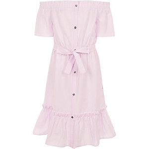 Rosa gestreiftes Bardot-Kleid mit Gürtel