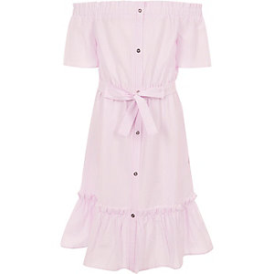 Girls pink stripe belted bardot dress