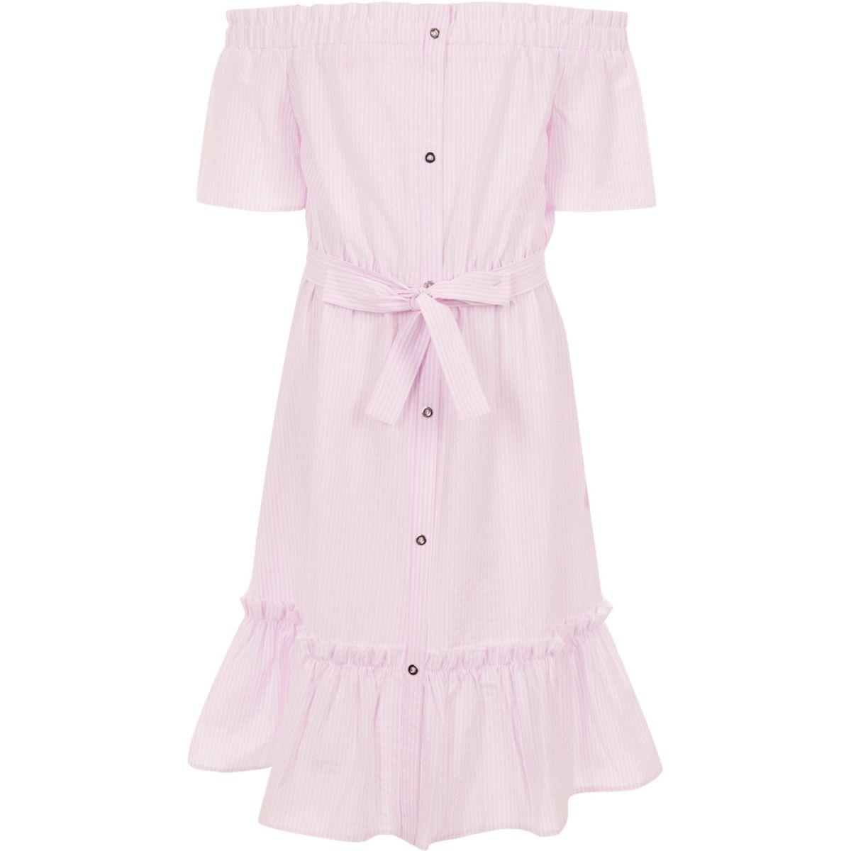 Girls pink stripe belted bardot dress