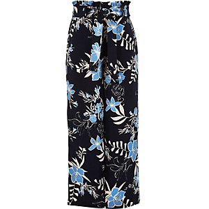 Girls blue floral paperbag wide leg pants