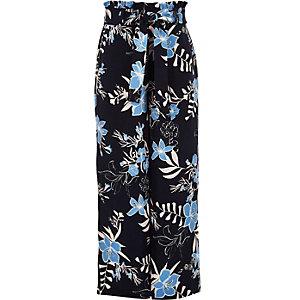 Blauwe gebloemde broek met ingesnoerde taille voor meisjes