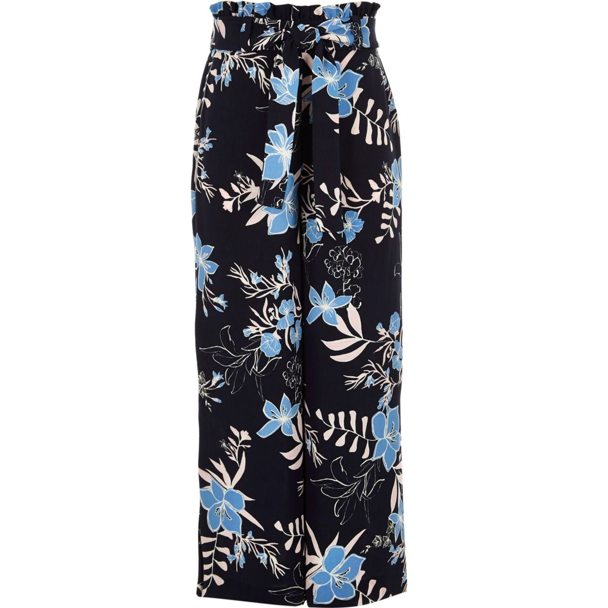 Girls blue floral paperbag wide leg trousers