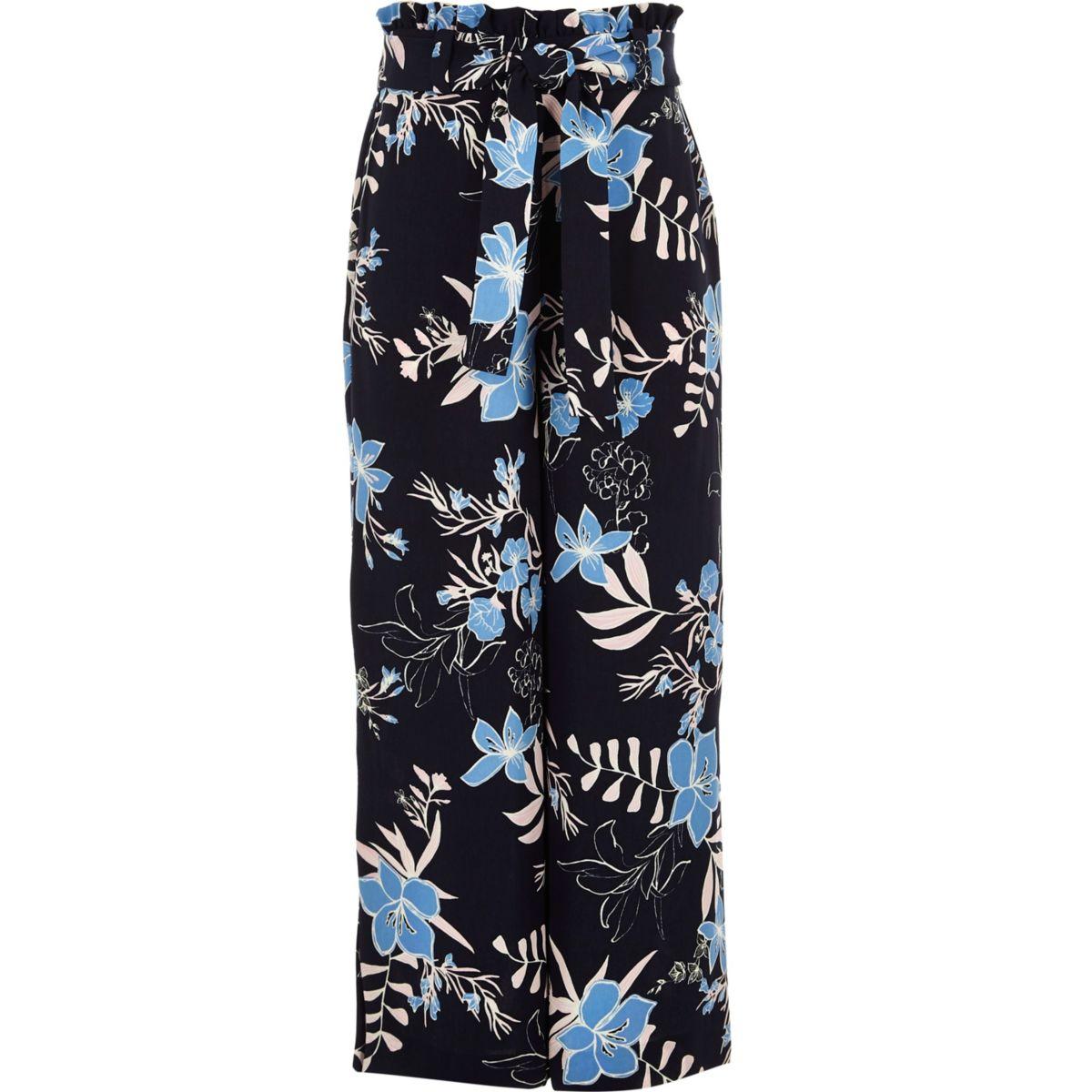 Pantalon large à fleurs bleu froncé à la taille pour fille