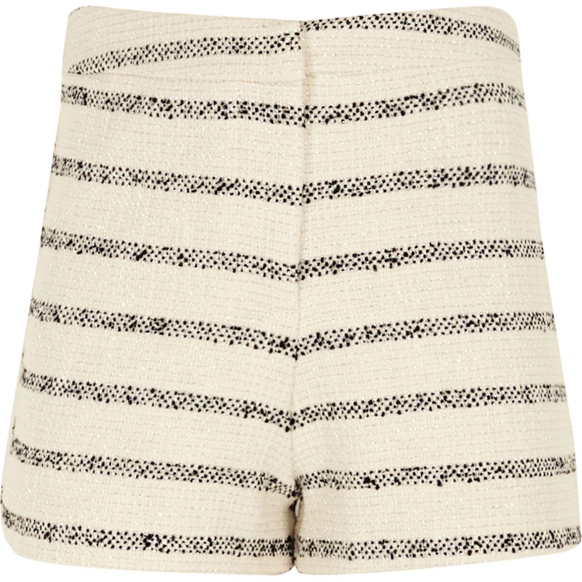 Girls stripe boucle shorts