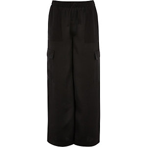 Girls black wide leg cargo trousers