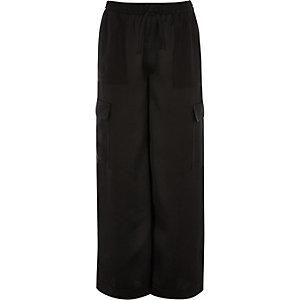 Pantalon cargo noir large pour fille