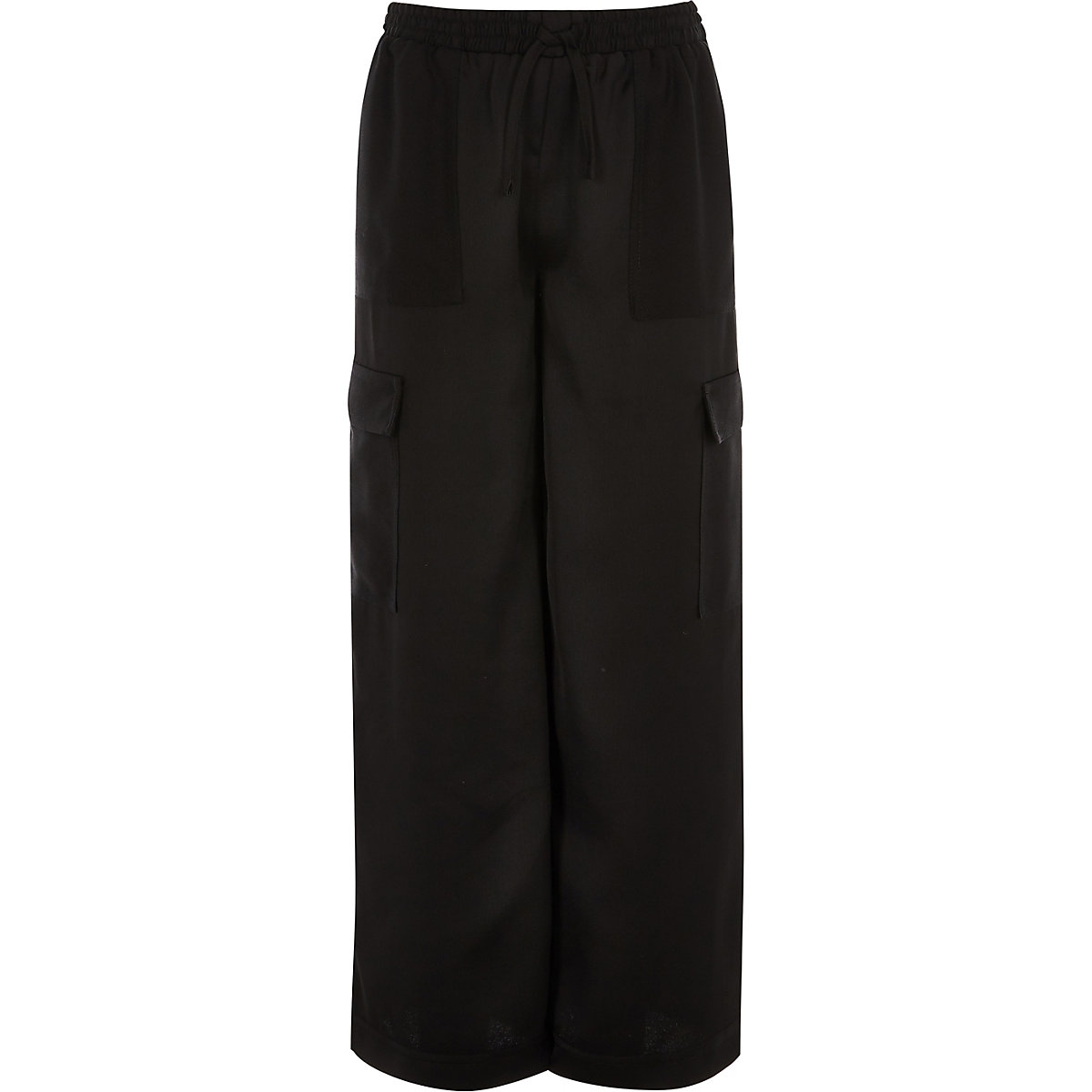 Girls black wide leg cargo trousers
