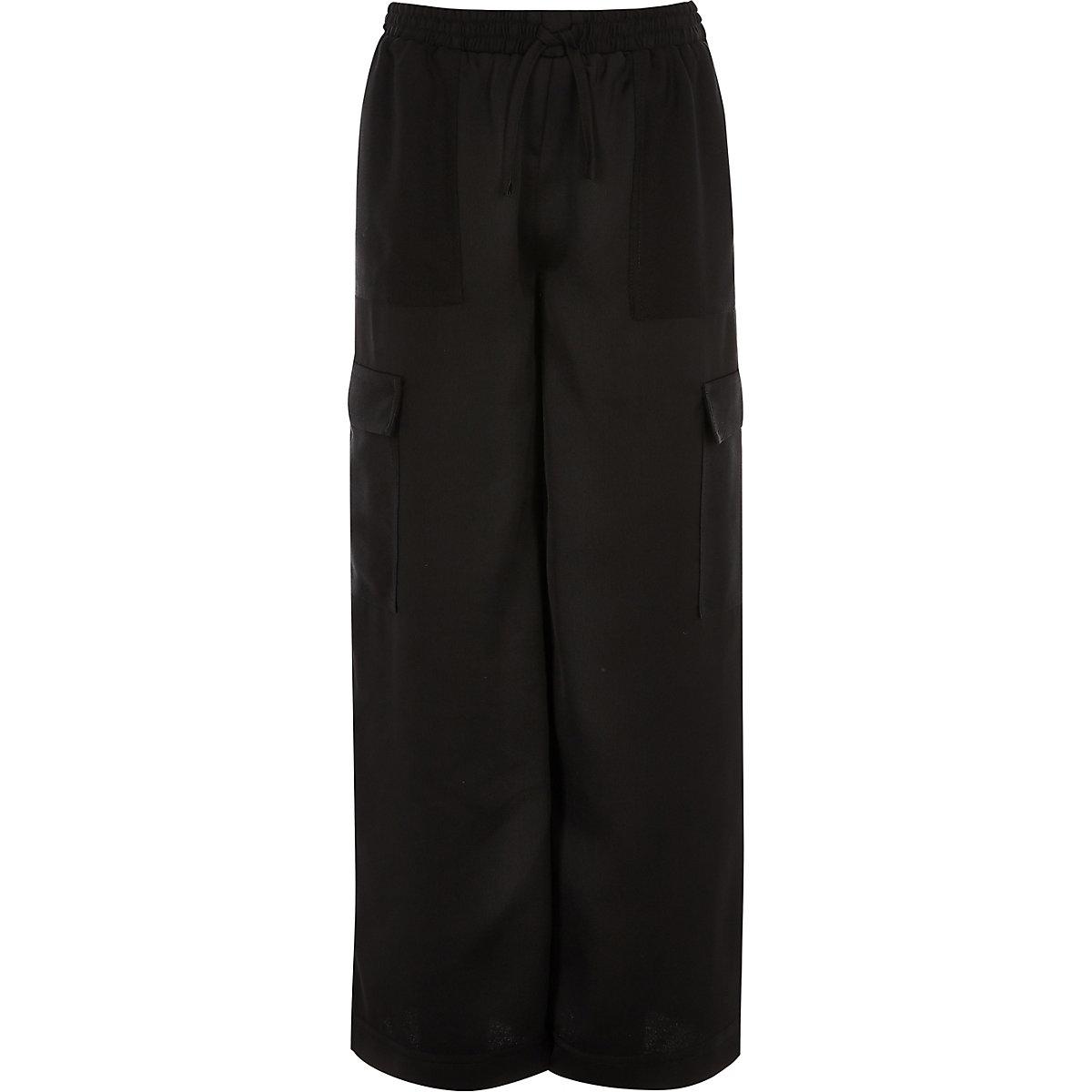 Girls black wide leg cargo pants