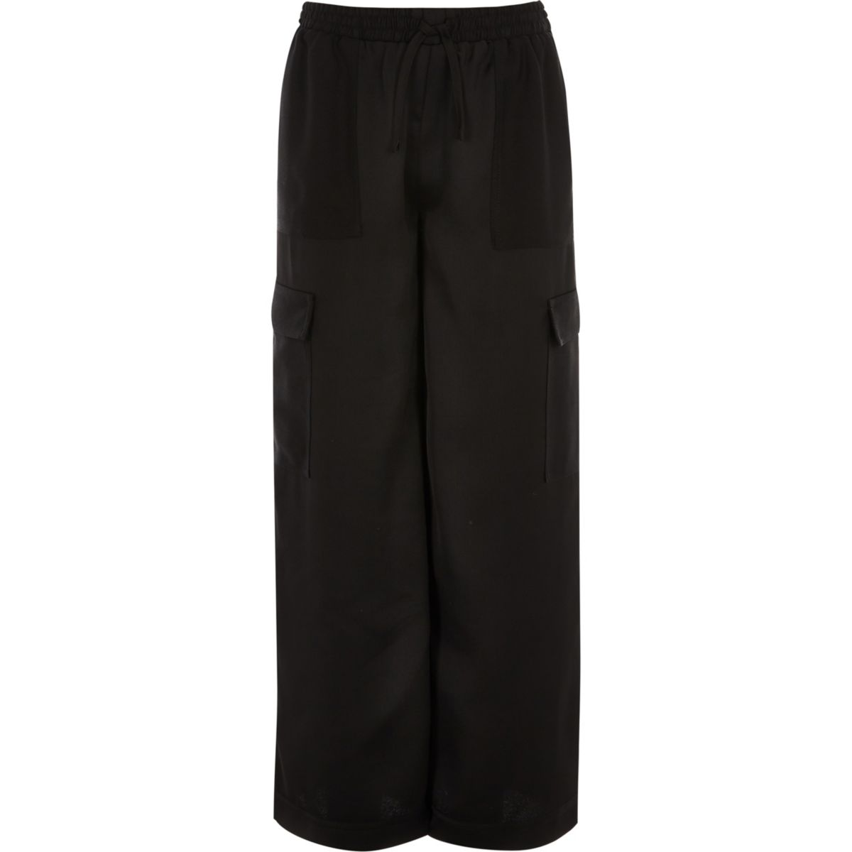Girls black wide leg cargo pants