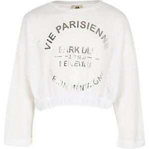 Sweat court « Vie Parisienne » blanc pour fille