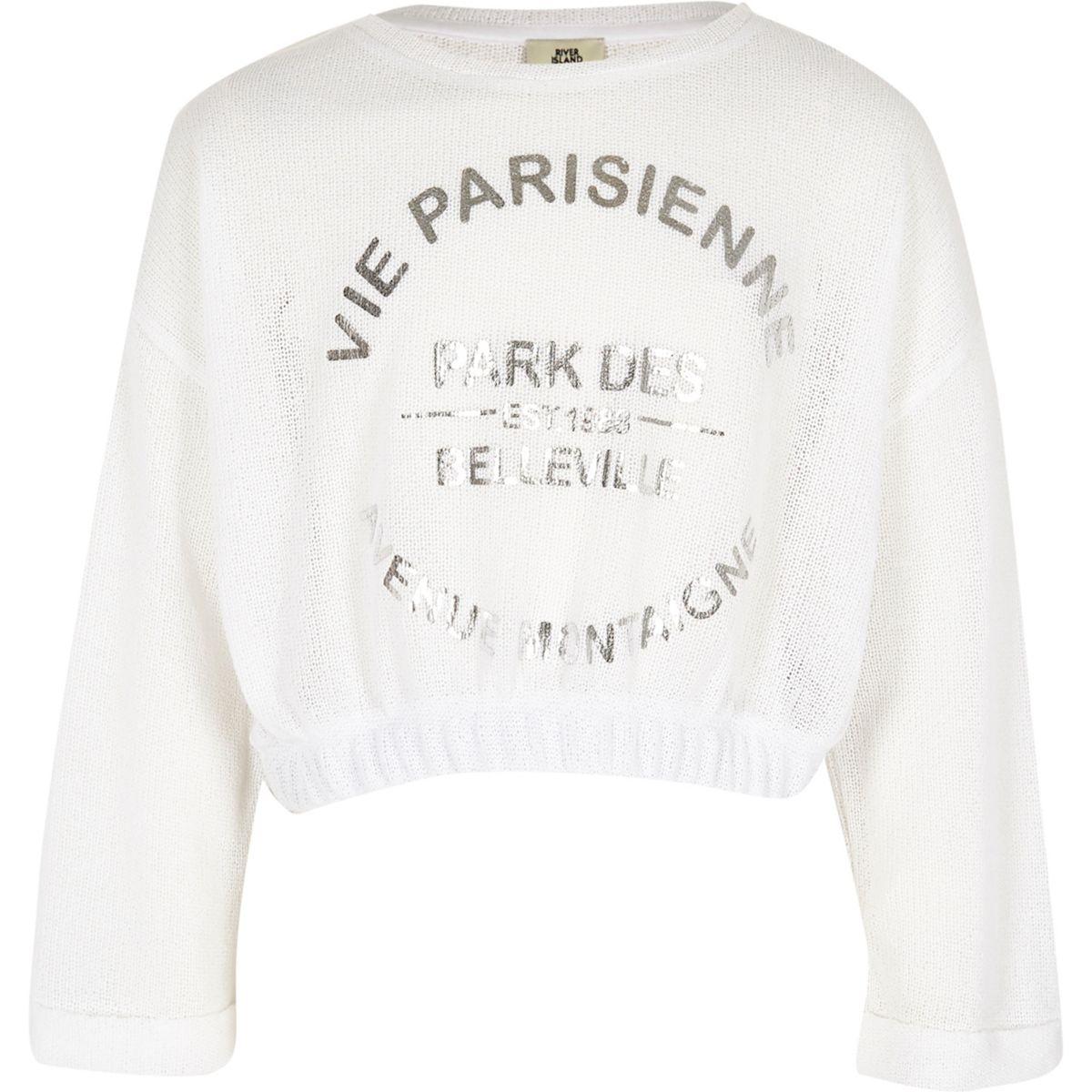 """Weißer, kurzer Pullover """"Vie Parisienne"""""""