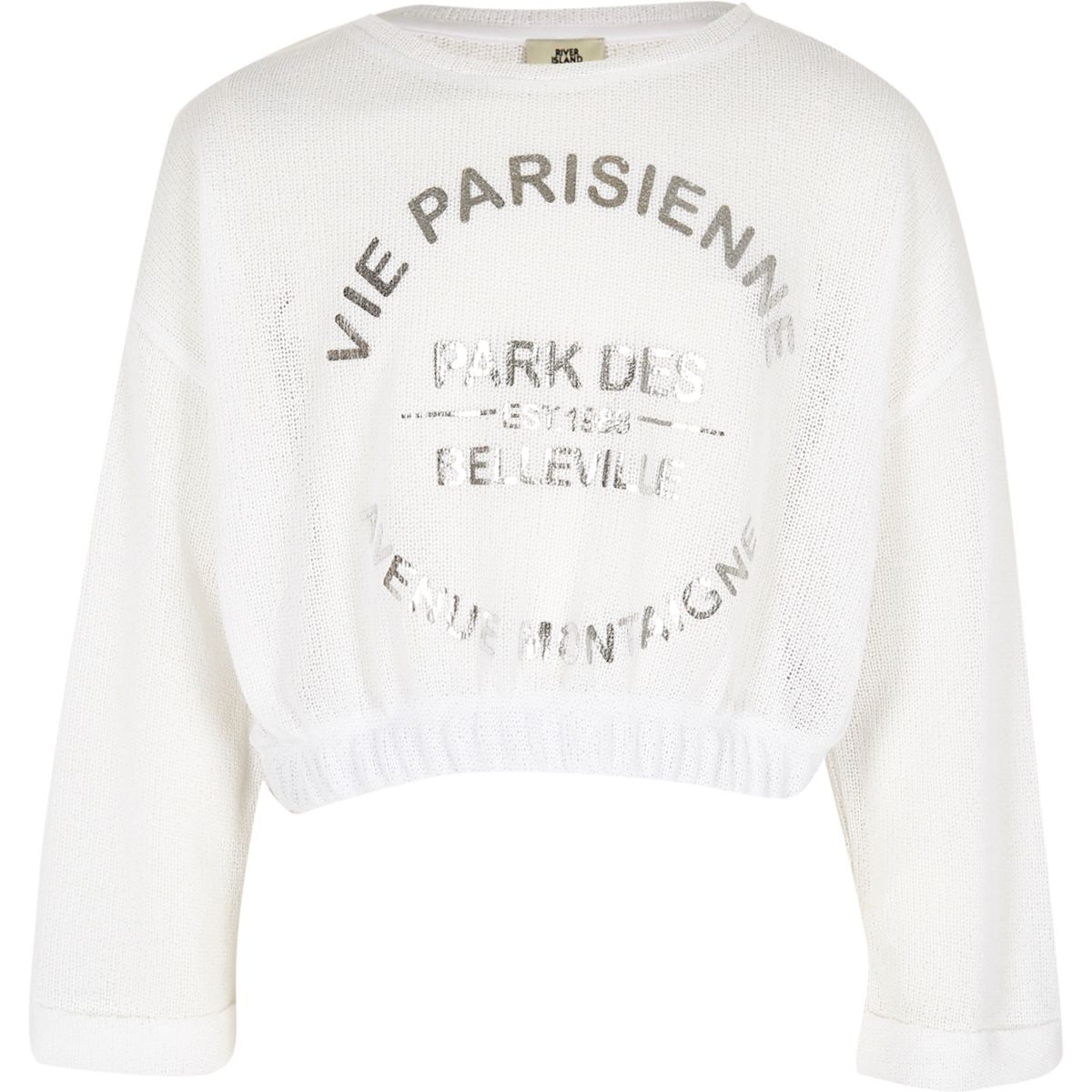 Girls white 'Vie Parisienne' cropped sweater