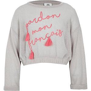 Girls grey tassel cropped sweatshirt