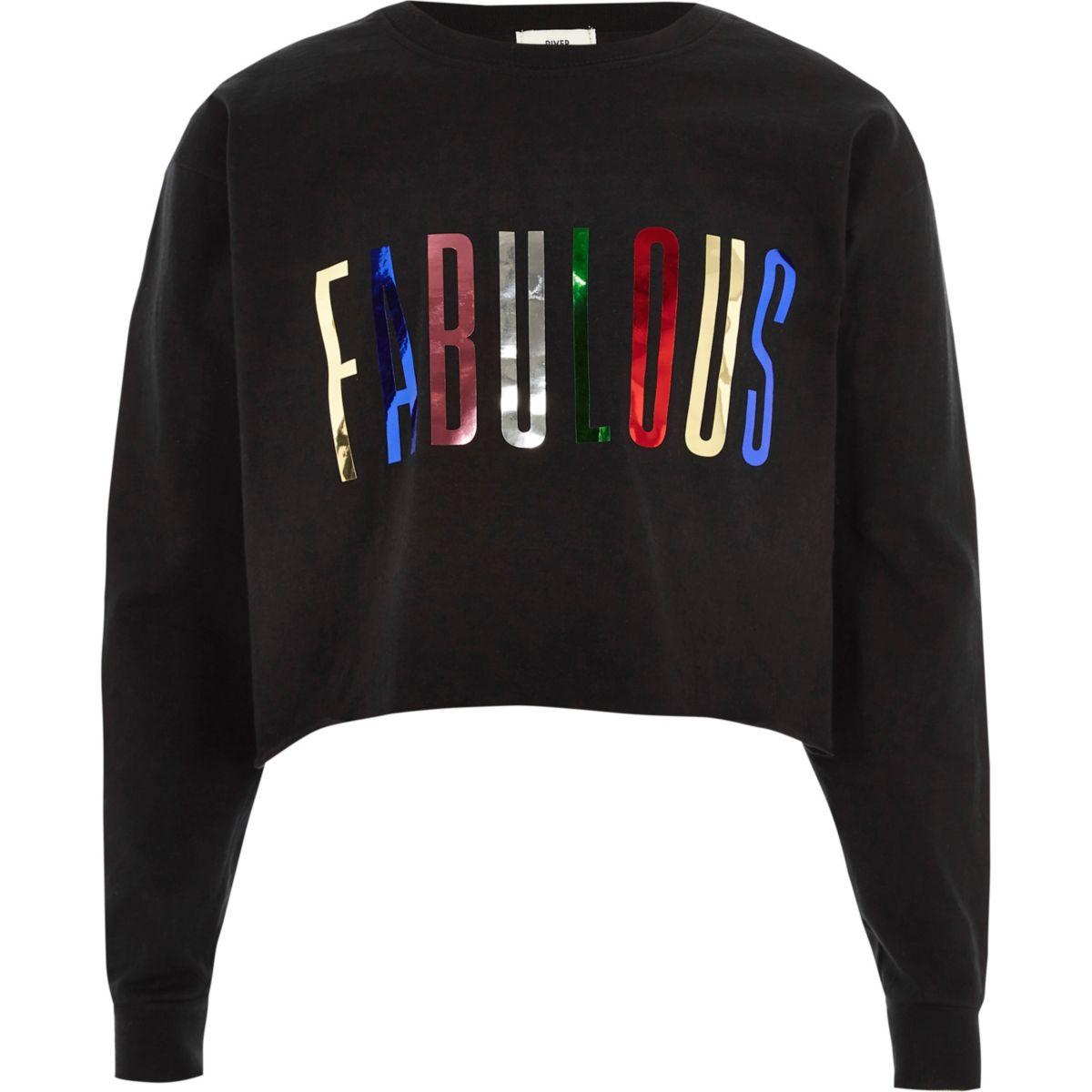 Girls black 'fabulous' metallic sweatshirt