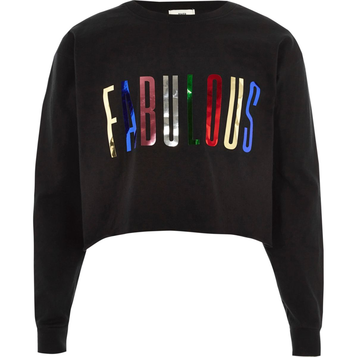 Girls black 'fabulous' metallic sweatshirt