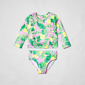 Tankini à imprimé tropical rose à volants mini fille