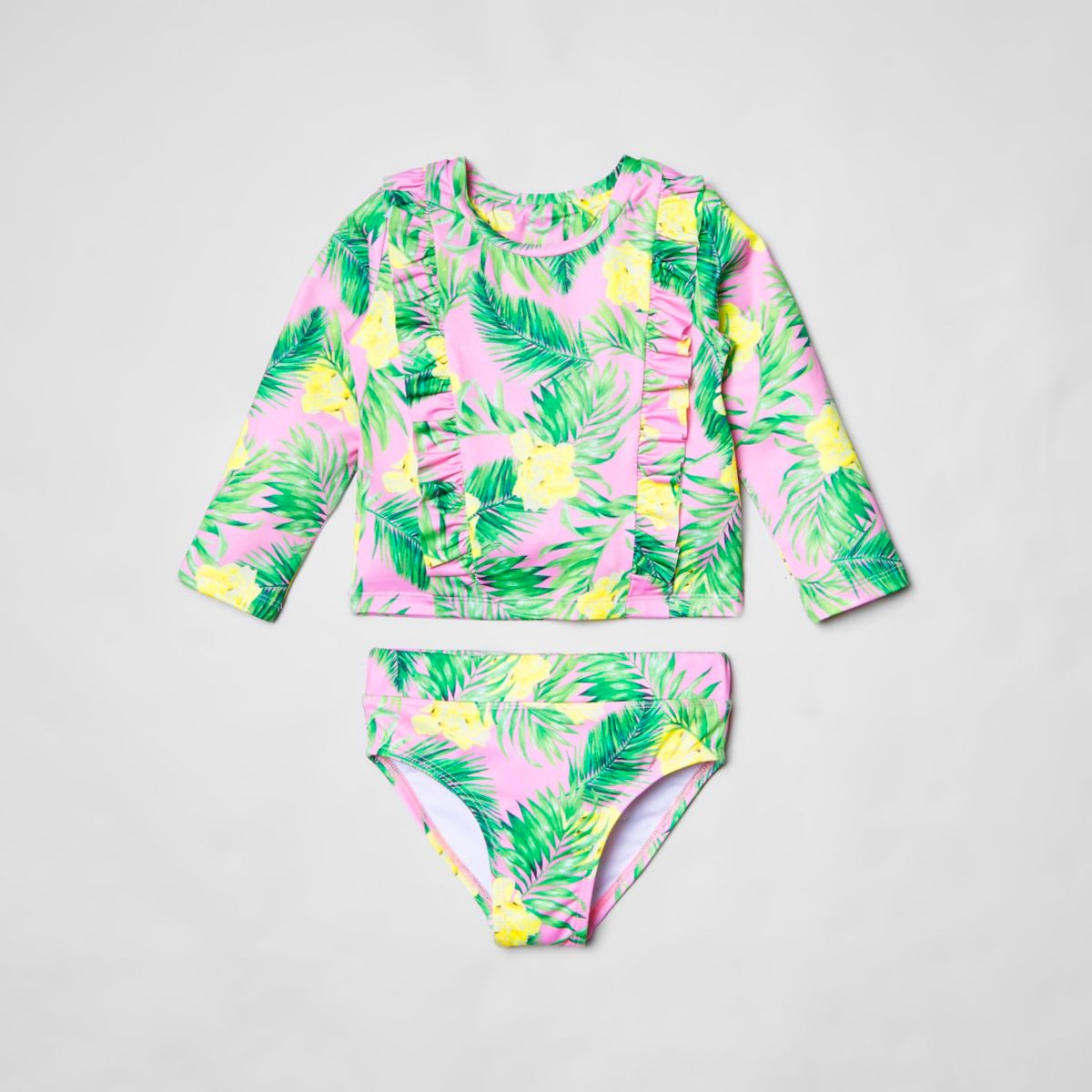 Mini girls pink tropical frill tankini