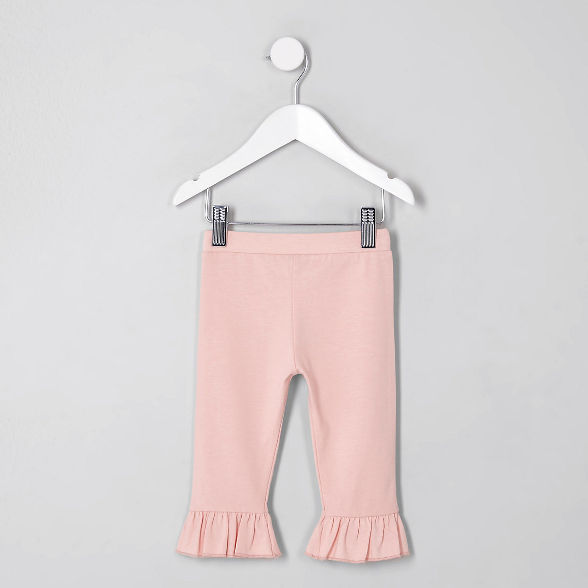 Mini girls pink frill flute hem leggings