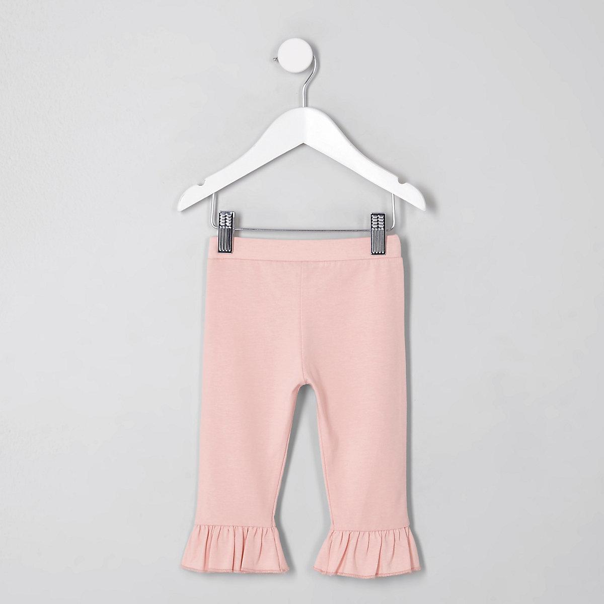 Mini girls pink frill flute hem leggings
